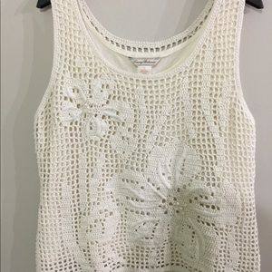 Tommy Bahama Crocheted Tank Top Size XL Cream